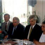 Konferencja prasowa z okazji X-lecia Oddziału Kardiologii i Kardiochirurgii Dziecięcej (od prawej – H. Pikulska, K. Wronecki, Z. Religa, M. Wojtalik)-2000 r.